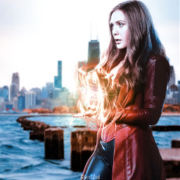 wanda wandamaximoff marvel fanart heroes superheroes chicago city sea alienized wallpaper uhd editedwithpicsart freetoedit