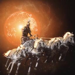freetoedit galaxy galaxyart sun horses mythical surreal fantasy greekmythology mythology helios