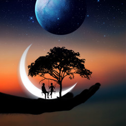 freetoedit myedit edit surreal space silhouette moon