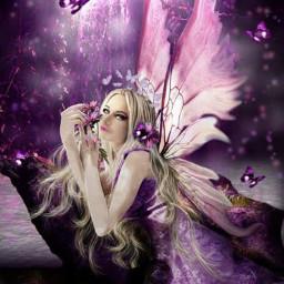 purple fairy faerie freetoedit srcbutterfliescrown butterfliescrown
