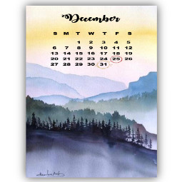 watercolor mountainsunrise winter calendar december srcdecembercalendar freetoedit