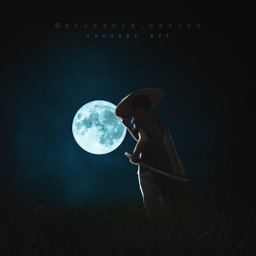 man night moon surreal surrealism madewithpicsart photomanipulation art wallpaper background dark heypicsart freetoedit