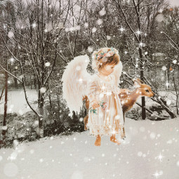 freetoedit oldphoto oldpapereffect oldphotoeffect snow angel holidays deer brusheffect madewithpicsart picsart