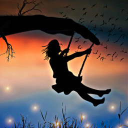 shillouette sunset birds swing freetoedit ircfallingleaf fallingleaf