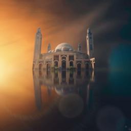 mosque photomanipulation madewithpicsart reflection surreal surrealism heyoonjeong heypicsart