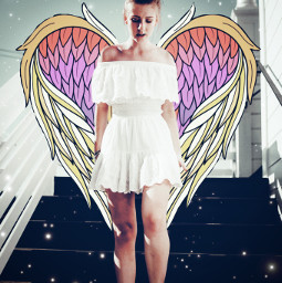 amazingldogwings wings wing yellow pink stars starbrush person portrait edit sticker stickerremix freetoedit