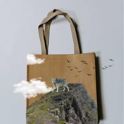 mountain clouds cloud wolve animals birds bag freetoedit ircdesignthebag designthebag