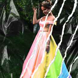 dress rainbow arcobaleno vestito strappo ectornpapereffect freetoedit