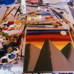 art paint canvas paintbrush sunset