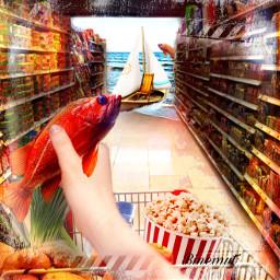 fish gemüse vegetables obst fruit popcorn mineralwasser boot binemut@binemut freetoedit binemut
