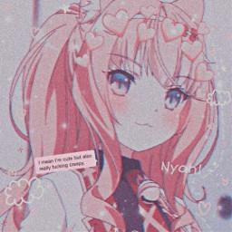 aesthetic anime pink message animeedit kawaii cute profilepic love smile cat pinkhair girl animeicon night japan freetoedit