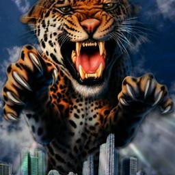 ciudad edificios city cielo leopardo animal ataque rugido mostachoedit freetoedit