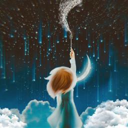 freetoedit magic clouds sparkle moon ircmakeawish