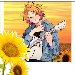 denki denkikamimari denkimha denkibnha mha bnha photo polaroidphoto polaroid sunflower sunflowers guitar kaminari kaminaridenki freetoedit