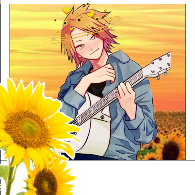 Denki✨#denki #denkikamimari #denkimha #denkibnha #mha #bnha #photo #polaroidphoto #polaroid #sunflower #sunflowers #guitar #kaminari #kaminaridenki