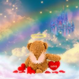rainbow clouds wings bear love castle freetoedit picsart ecneonwings neonwings