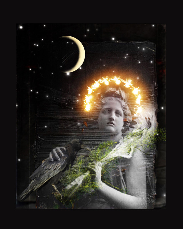 Coexisting  #heypicsart #art #surreal #angel #moon #luna #raven #starrynight #dark #doubleexposure #blackbackground #overlay #texture  #photomanipulation #makeawesome #papicks #picsart #edit #myedit #freetoedit @picsart