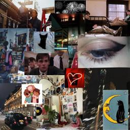 grunge indie indiegirl neon neoncity citylights eyeliner blackcat aesthetic moodboard collage deadpoetssociety dreamteam teenager indieroom
