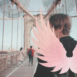 freetoedit v taehyung bts bangtan bangtansonyeondan bangtanboys btsv btstaehyung kimtaehyung btskimtaehyung wings pinkwings angel devil male man men huma kpop kidol bridge outside ecneonwings neonwings