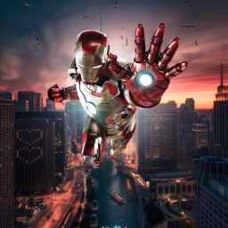 freetoedit ironman tonystark marvel fanart chicago city flying birds heroes superheroes alienized wallpaper uhd editedwithpicsart