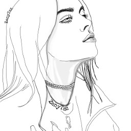 simple lineart portrait drawing billieeilish outline faceart outlineart trendygirl singersongwriter billieeilishfanart drawnbyme colorme freetoedit