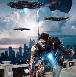 ironman tonystark robertdowneyjr marvel heroes superheroes fanart aliens spaceships chicago city alienized uhd wallpaper editedwithpicsart freetoedit