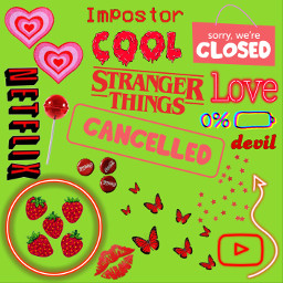 green lips red cool aesthetic love sticker collage like freetoedit