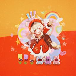 klee genshinimpact genshin kleegenshin game anime girl orange pink kidcore cute videogames genshinimpactklee knightsoffavonious spark freetoedit