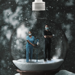 surreal covid snowglobe merrychristmas christmas snow doctors nurse medic