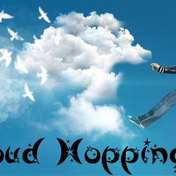freetoedit man manjumping clouds birds whitebirdsinclouds text madewithpicsart inthecloudsedingchallenge ecintheclouds intheclouds