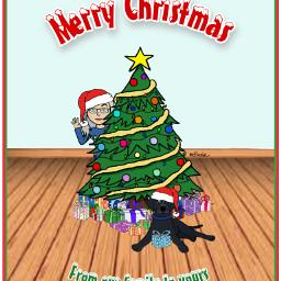 mystickers merrychristmas christmas christmastree presents dog mydigitalart myartwork digitalart colorpaint freetoedit