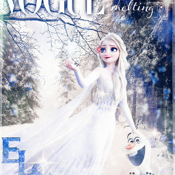 ourqueen elsa olaf frozen frozen2 cartoon showyourself vogue magazinecover forest winter trees worthmeltingfor magic babies cute happy balanced frame dress white blue snow ice girly freetoedit