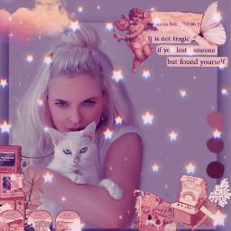 replay picsartreplay heypicsart makeawesome image vintage frame girl cat stars freetoedit