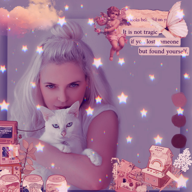 #replay #picsartreplay #heypicsart #makeawesome #image #vintage #frame #girl #cat #stars