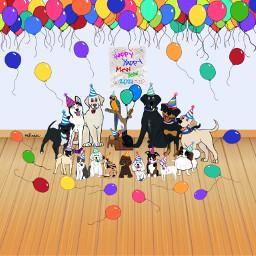 newyearseve happynewyear happynewyear2021 mystickers myartwork mydigitalart balloons dogs cats bird partyhats digitalart freetoedit