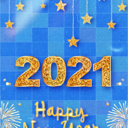 newyear 2021 happynewyear celebrations stars golden blue firework shiny popart 1970 freetoedit