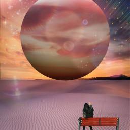allpicsarttools fantasyart moon planet univers womandream allpicsart myedit womansitting woman planeteffect stickersart freetoedit