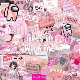 pinkaestheticbackground pinkaesthetic stickerart amongus slayqueens freetoedit