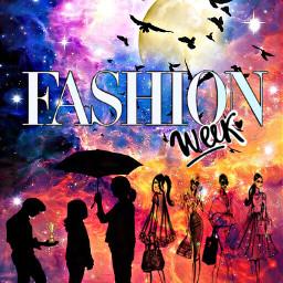 fashionweek trophy award ladies man judge pose moon colorful remixed birds umbrella effects freetoedit