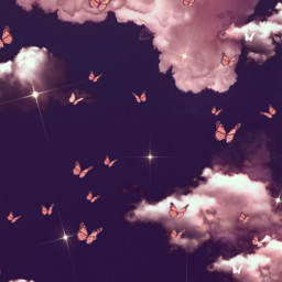 madewithpicsart background backgrounds wallpaper clouds sky butterflys pink freetoedit