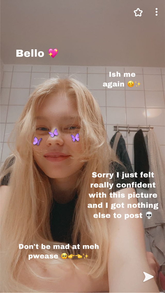 Bello nuggets UwU      How did your day go? Mine went pretty well 💖 Did chu eat and drink water today?? 😤     Ch1Le anyways soOo i love this filter for no reason 😌🦋  WHAT SHOULD I POST???? 🙊👀✨ Baiiiiiiiii-   *Ava.exe left the chat due to loss of sleep*   @psychic_friend_fred @-m00n_ @_g1r4ff3_ @jessiebear2020 @-_creepypasta13_- @kittykittymowmo @-_official_denki-_ @gacha_myheroacademia  #facerevealkinda #filtereffect #filter #filtersarefun #filterpurplebutterflies #purple #butterfly #butterflies #butterflyeffect #purplebutterfly #purplebutterflies #black #blacktshirt #hair #curlyhair #blondie #blondiehair #blondehair #blonde #confidence #confidentbitch #nothingtopost #bathroom #snapchat #snap