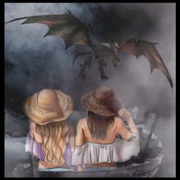 art artistic artwork picsart editedwithpicsart girls dragon boat picsartedit picsarteffects freetoedit