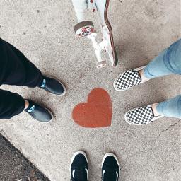 feet shoes vans heart lookdown sidewalk skateboard kids girls freetoedit