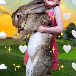rabbit bigrabbit girl hearts freetoedit srcmonochromeemojis