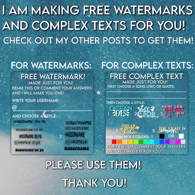 ‼️‼️‼️‼️CLOSED‼️‼️‼️‼️   I am making free watermarks and complex texts for you! You just have to go on the posts and either fill out the form or comment your answers, and I will make you one for free! You just have to follow me, and like the post, and you will get it!  Please check out the posts!  Comment what you want me to post!  I love you! @stickerproducer My friends! {💞} @angel_3407 - nicest person in the whole world, ilysm {💞} @xxxfanedits101xxx - incredibly nice  {💞} @adorablechrisevans - super nice and caring! {💞} @likeahoestage - amazing person!  {💞} @elena_luv - super nice!  {💞} @minapinna4 - her account is so cool, and she is so nice! {💞} @badass_sweetheart - super nice and her edits are so good! {💞} @acute_angels - nicest person ever, go follow them! {💞} @iceedamelio - edits are so good! {💞} @star_107 - so nice, edits are incredible! {💞} @bxddiehypehouse - edits are amazing! {💞} @awluvly - amazing people, and they are so kind!! My Idols! {👑} @flcwerlush {👑} @chatty_celebrities - my idol, such an angel, extremely talented, ilysssm {👑} @dharmi__ {👑} @bellapoarch {👑} @itsdixiedamelio- {👑} @-itscharlidamelio {👑} @meeori - you inspired me to start making stickers! I love you so so much, and keep being an incredible person!  My fanpages!  {💎}  My normal taglist!  {💫} @jaowzer {💫} @stargazingalways {💫} @kawiikid {💫} @ticcitoby_346 {💫} @queenzxox {💫} @melodies_edits {💫} @katie_joy1 {💫} @bestie_celeb_edits {💫} @gabby_mouse {💫} @rj_412 {💫} @lani_jade5 {💫} @bcba_anime {💫} @astrc-rosie {💫} @_sxftiewhxte_ {💫} @-eqrth {💫} @miraculousxmarinette {💫} @xxsunsetwolfxx {💫 }@aecervantes24 {💫} @crazy_celebs  {💫} @crazy_celebs {💫} @aesthetqc {💫} @nicolehayward13 {💫} @sleelil {💫} @stophatingg {💫} @boiwhyuhere {💫} @duxanny {💫} @addy_stars {💫} @i_dont_care1123 {💫} @shxdowlxtte {💫} @vintagetearsxx {💫} @jaclynn_edits17 {💫} @poopiecheese {💫} @hewwo-kittens {💫} @saradaproediter {💫} @ii_aesthetic_angel {💫} @bcba_anime {💫} @jelly_babie- {💫} @deetimeisuponus {💫} @zournatsidouv {💫} @stcr