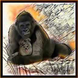 animals apes dogs fog art artwork picsart picsarteffects picsartedit freetoedit