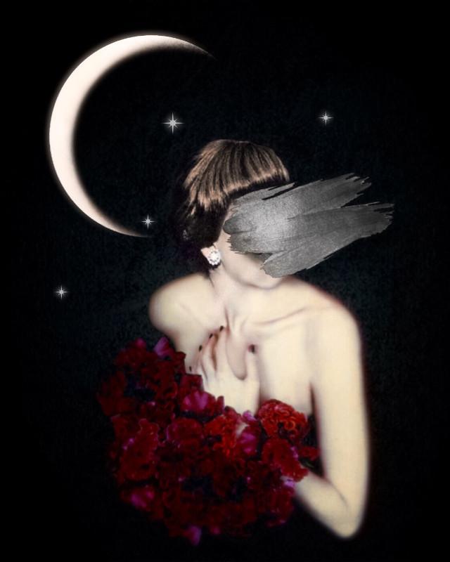 #myedit #heypicsart #art #woman #emotions #starrynight #moon #photomanipulation #alone #hiding #surrealism #surreal #blackbackground #edit #makeawesome #becreative #beinspired #fx #blur #stickers #overlay #flowers #paintswipe #picsart @picsart