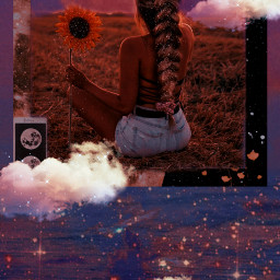 replay aesthetic vintage heypicsart makeawesome surreal frame clouds moon girl freetoedit