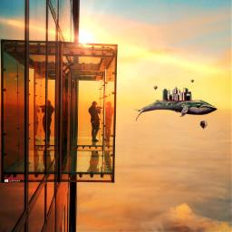 flyingwhale sunset surrealsky myriam70