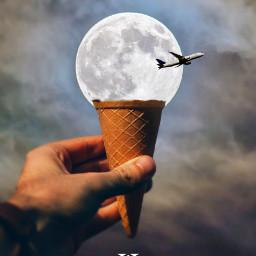 icecream moon clouds sky hand freetoedit unsplash